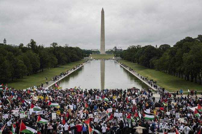 Thousands rally in Washington DC in support of Palestine